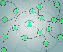 teal social circles network backdrop image - stock illustration