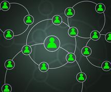 green social circles network backdrop image - stock illustration