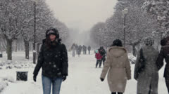 Snowing. Winter in City Park in krasnodar, Russia. Stock Footage