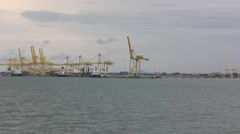 Container port at Penang Malasia Stock Footage
