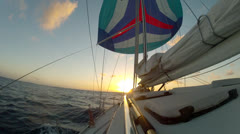 Sunset Sailing over Atlantic Ocean Stock Footage
