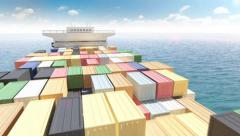 Cargo container ship in a sea Stock Footage