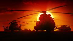 Helicopters at sunrise Stock Footage