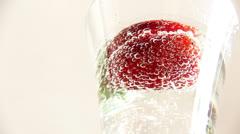 Strawberry mojito cocktail rotation Stock Footage