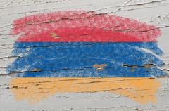Flag of armenia on grunge wooden texture painted with chalk Stock Photos