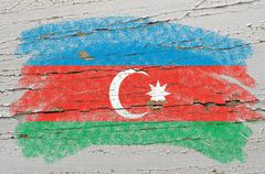 flag of azerbaijan on grunge wooden texture painted with chalk - stock photo