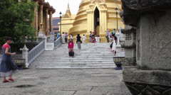 Buddhist temple with tourist Stock Footage