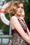 model on berlin bridge - stock photo