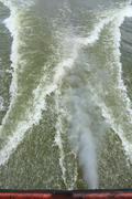 Wake of a passenger ship. Stock Photos