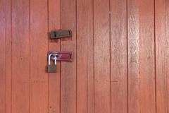 close up of door locked. - stock photo