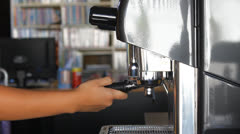 Barista making single espresso shot Stock Footage