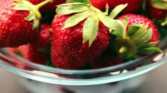 Stock Video Footage of Red strawberries clockwise rotation