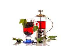 tea with black currants - stock photo
