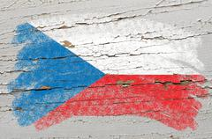 flag of czech on grunge wooden texture painted with chalk - stock photo