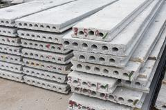 Hollow core slab in construction site Stock Photos