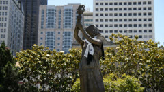 Bronze Statue in Japanese Cultural Park - San Francisco Stock Footage