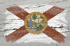 flag of us state of florida on grunge wooden texture precise painted with cha - stock photo