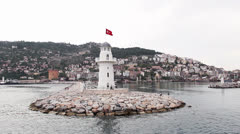 Lighthouse at sea, Alanya Stock Footage