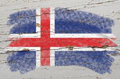 flag of iceland on grunge wooden texture painted with chalk - stock photo
