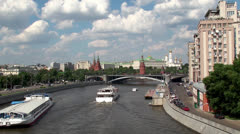 View of Moscow River & Kremlin. Russia Stock Footage