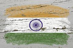 flag of india on grunge wooden texture precise painted with chalk - stock photo