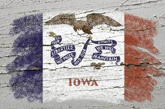 flag of us state of iowa on grunge wooden texture precise painted with chalk - stock photo