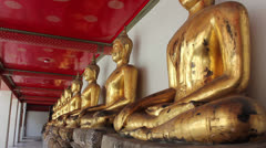 Buddhist statues in thai temple Stock Footage