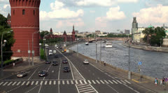 View of the Kremlin embankment in Moscow Stock Footage