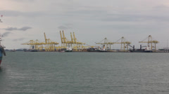 Boat and freight port Stock Footage