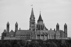 ottawa parliament hill building - stock photo