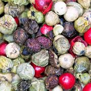 Macro view of diferent peppercorns Stock Photos