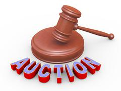 3d gavel and auction Stock Illustration