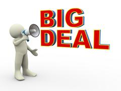 3d man big deal announcement Stock Illustration