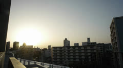 Tokyo Japan Sunset From Sky Tree Roof Stock Footage
