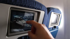 Airplane entertainment console - stock footage