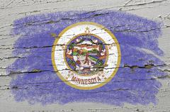 flag of us state of minnesota on grunge wooden texture precise painted with c - stock photo