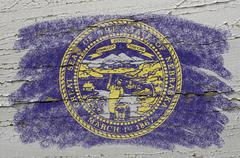 flag of us state of nebraska on grunge wooden texture precise painted with ch - stock photo