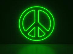 peace symbol - series neon signs - stock illustration
