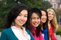 Multicultural female students Stock Photos