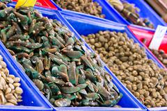 Fresh mussel in the market Stock Photos