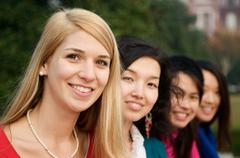 beautiful student girls - stock photo