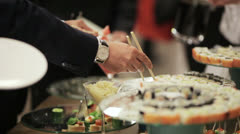 Sushi on holiday reception Stock Footage