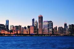 Chicago skyline iltahämärässä Kuvituskuvat