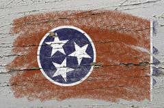 flag of us state of tennessee on grunge wooden texture precise painted with c - stock photo
