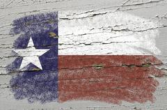 flag of us state of texas on grunge wooden texture precise painted with chalk - stock photo