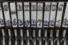 vintage typewriter typebars extreme macro - stock photo