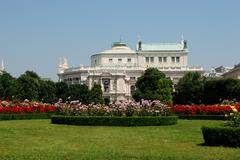Burgtheater, as seen from the volksgarten in vienna Stock Photos