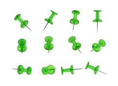 12 Realistic Thumbtacks - GREEN Set (Translucent Plastic) Stock Illustration