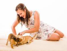 Stock Photo of woman and dogs