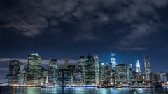 Manhattan at Night Stock Footage